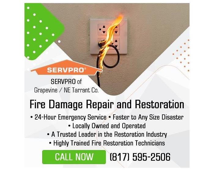 Here to help - image of burning plug with SERVPRO information